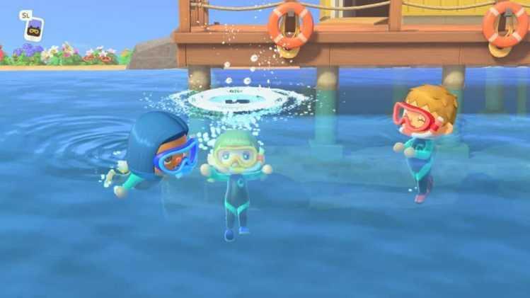 Beim Schwimmen und Tauchen können Spieler unter anderem Muscheln sammeln. Bildrechte: Nintendo